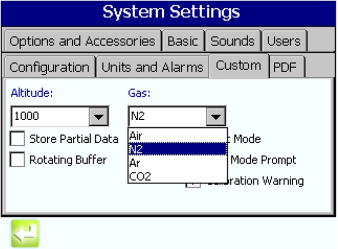 Selecting the gas to be monitored via a sample drop-down on the MET ONE 3400 user interface.
