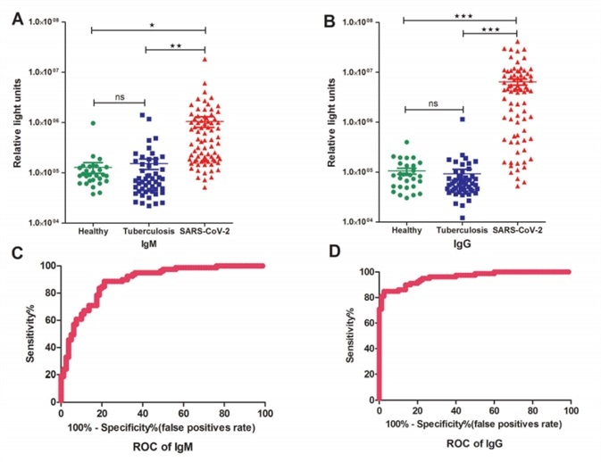 Detections and measurements of the SARS-CoV-2 IgM and IgG antibody in healthy people, tuberculosis patients and SARS-CoV-2 confirmed patients using the chemiluminescence immunoassay method (A and B). The average results were expressed as mean ± SEM of all individuals. Receiver Operating Characteristic curves for IgM (C) and IgG(D) were obtained based on the RLU for the SARS-CoV-2 patient group and the control group consisting of healthy cohorts and tuberculosis patients.
