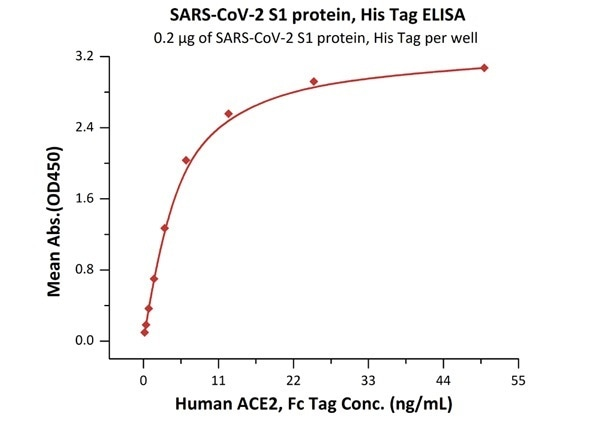 Immobilized SARS-CoV-2 S1 protein, His Tag (Cat. No. S1N-C52H4) at 2 μg/mL (100 μL/well) can bind Human ACE2, Fc Tag (Cat. No. AC2-H5257) with a linear range of 0.2-6 ng/mL.