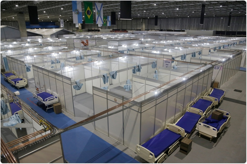 Rio de Janeiro , Brazil April 29, 2020. An overview of an emergency field hospital is seen at Riocentro to receive the coronavirus covid-19 infections. Image Credit: Antonio Scorza / Shutterstock
