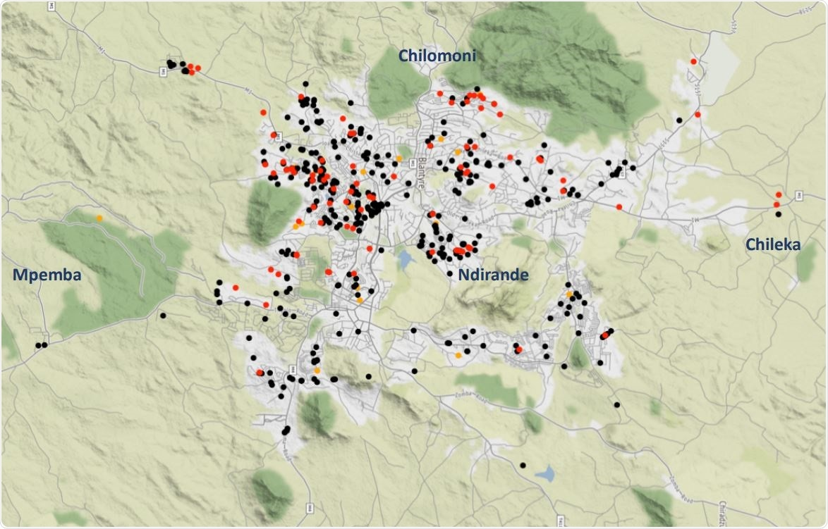 Map of Blantyre showing geospatial distribution of seropositive results using the low local assay cut-off, Black dot, negative; Red dot, positive; Orange dot, indeterminate