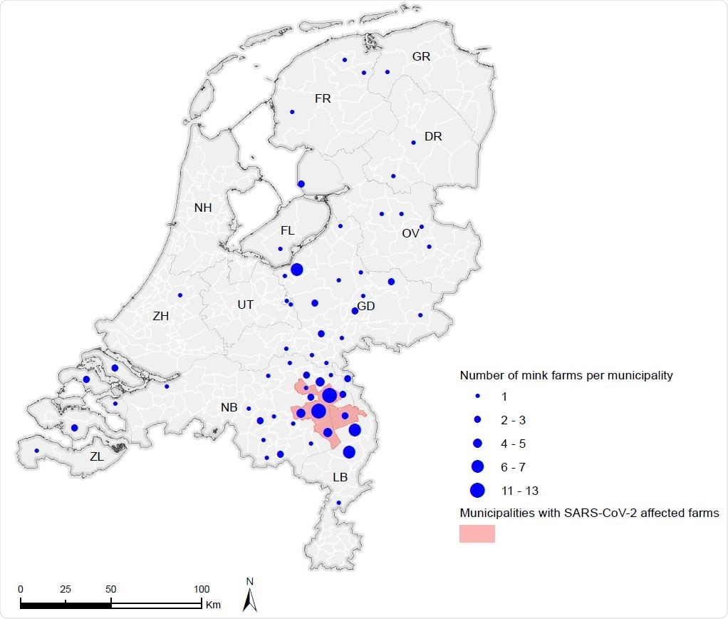 Number of mink farms per municipality in the Netherlands. Overview of the total number of mink farms per municipality (CBS, 2019). Municipalities with SARS-CoV-2 affected farms by June 21st 2020 are shown in red.