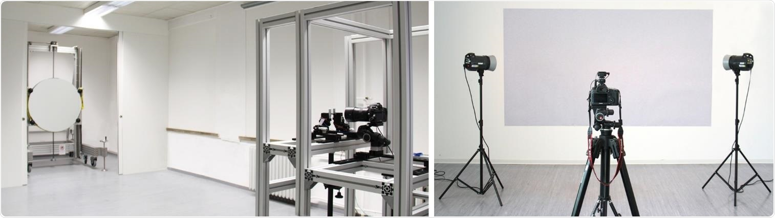 Setup of the single-mirror coincident schlieren system (left) and the BOS system (right) at the Department of Building Physics at the Bauhaus-University Weimar