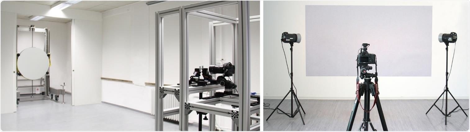 Configuración del sistema schlieren coincidente de espejo único (izquierda) y el sistema BOS (derecha) en el Departamento de Física de la Construcción de la Universidad Bauhaus de Weimar