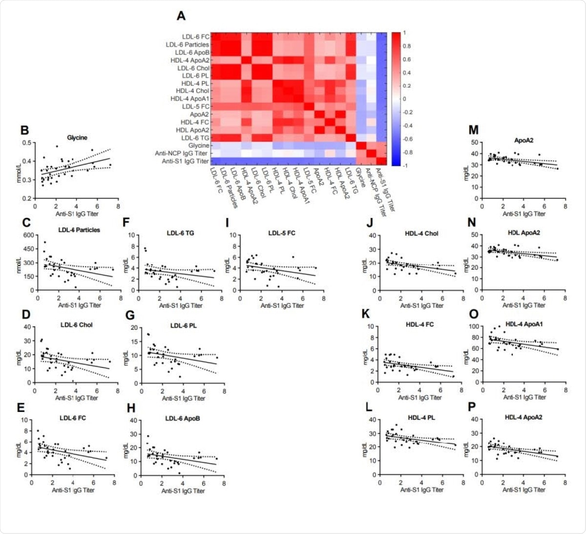 Heatmap correlating metabolite and lipoprotein levels against the Anti-S1 IgG titer for individuals who tested positive for Anti-SARS-CoV-2 antibodies (Anti-S1 IgG+). B-P. Spearman correlation plots for the most significant individual metabolites or lipoproteins against the Anti-S1 IgG titer (p- values in supplementary table).