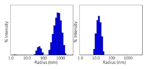 Size distributions obtained at 80 °C via regularization. Left: pH 8.5; right: pH 9.5.