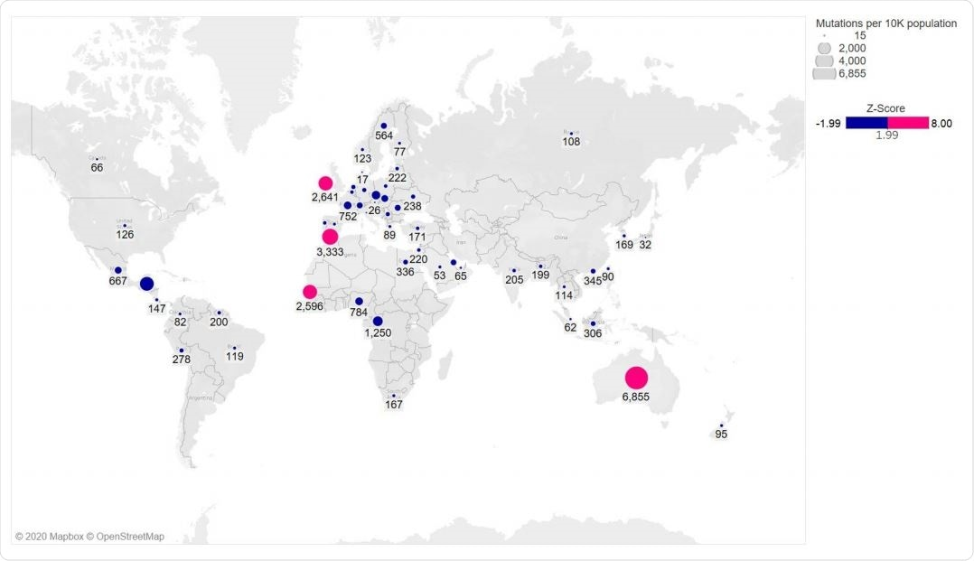 Global distribution of RBD mutations