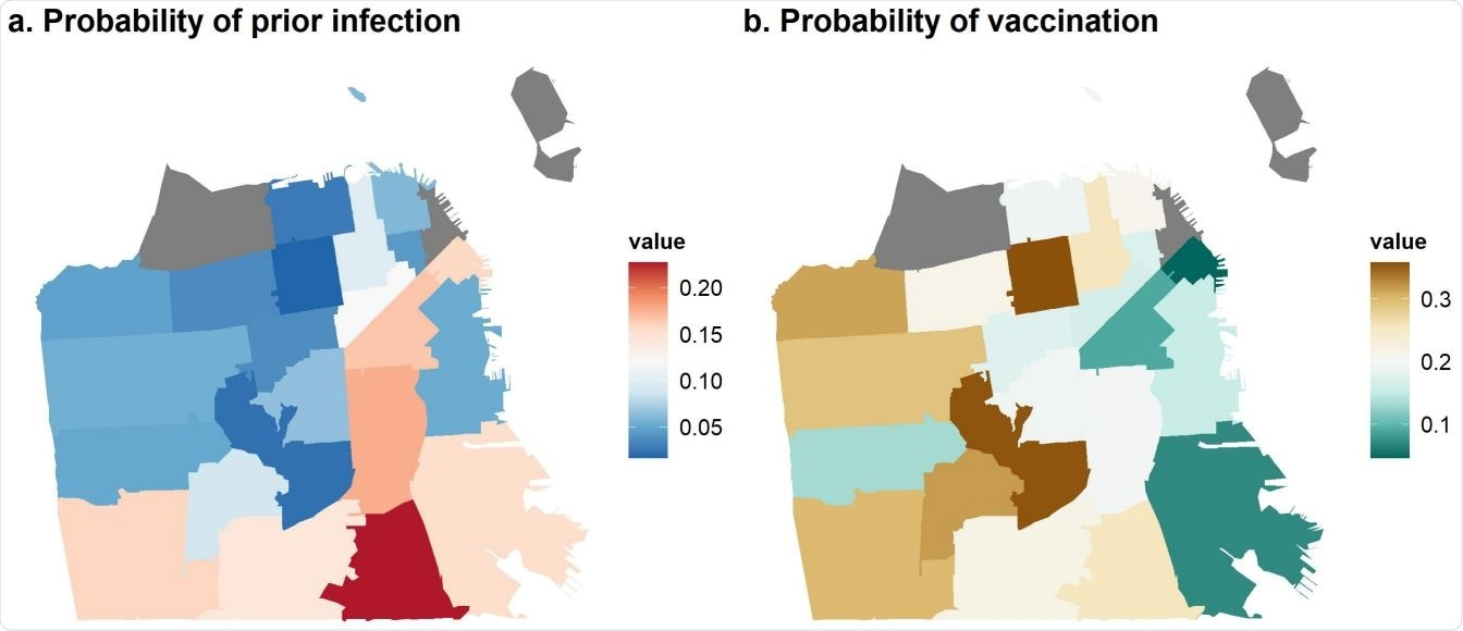 Map of geographic disparities in SARS-CoV-2 showing the estimated probability of (a) prior infection and (b) vaccination by ZIP code in San Francisco, as of February 2021.