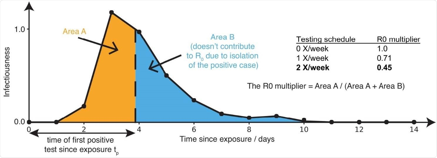 Sensitive testing can reveal a positive case early in the infection, and thus isolation of the index case reduces the number of people infected by this index case. Frequent testing and rapid isolation reduce the time period during which a person is infectious but not isolated (Area A). As a result, the R0 multiplier for testing is the ratio between the truncated area under the curve (Area A) and the untruncated area under the curve (Area A + Area B). The dashed vertical line between Area A and Area B represents the moment an infected individual is isolated; as this line moves to the left, M is decreased, and viral spread is reduced.
