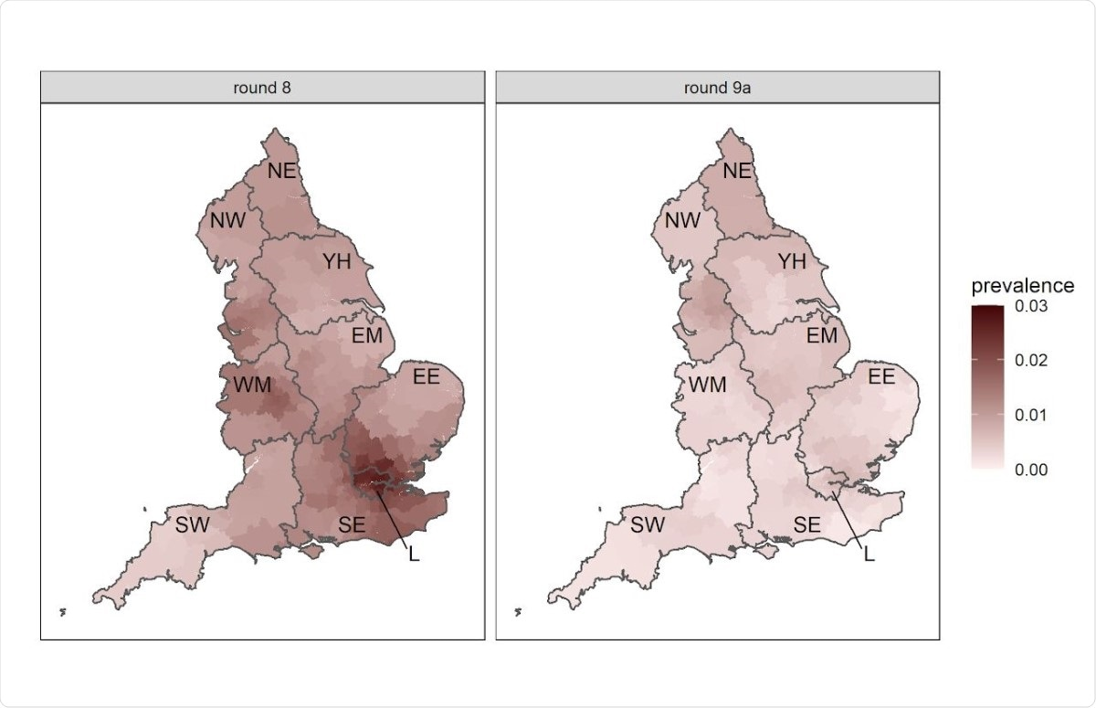 Neighbourhood prevalence of swab-positivity for rounds 8 and 9a. Neighbourhood prevalence calculated from nearest neighbours (the median number of neighbours within 30km in the study). Average neighbourhood prevalence displayed for individual lower-tier local authorities. Regions: NE = North East, NW = North West, YH = Yorkshire and The Humber, EM = East Midlands, WM = West Midlands, EE = East of England, L = London, SE = South East, SW = South West.