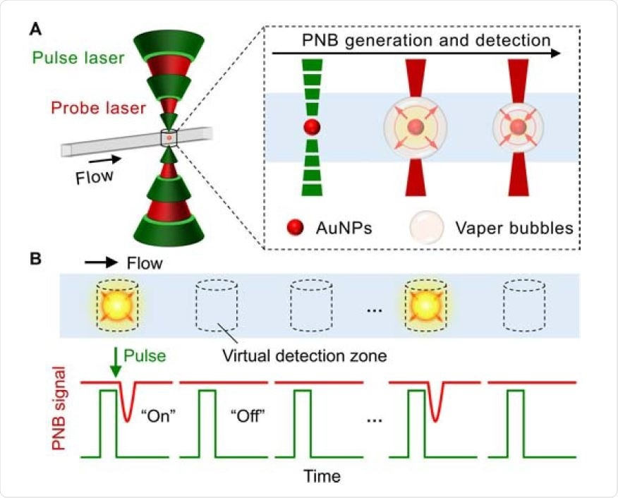 """The schematics illustration for the concept of DIAMOND. (A) The spectroscopybased signal generation and detection. The gold nanoparticles (AuNPs) as labels are used for the generation of the plasmonic nanobubbles (PNBs) by short laser pulses and subsequently detected by a secondary probe laser due to the optical scattering. (B) The detection principle based on optofluidic scanning of a sample flowing through. The """"on"""" and """"off"""" refer to the positive and negative PNB signals representing for the presence or absence of targets."""