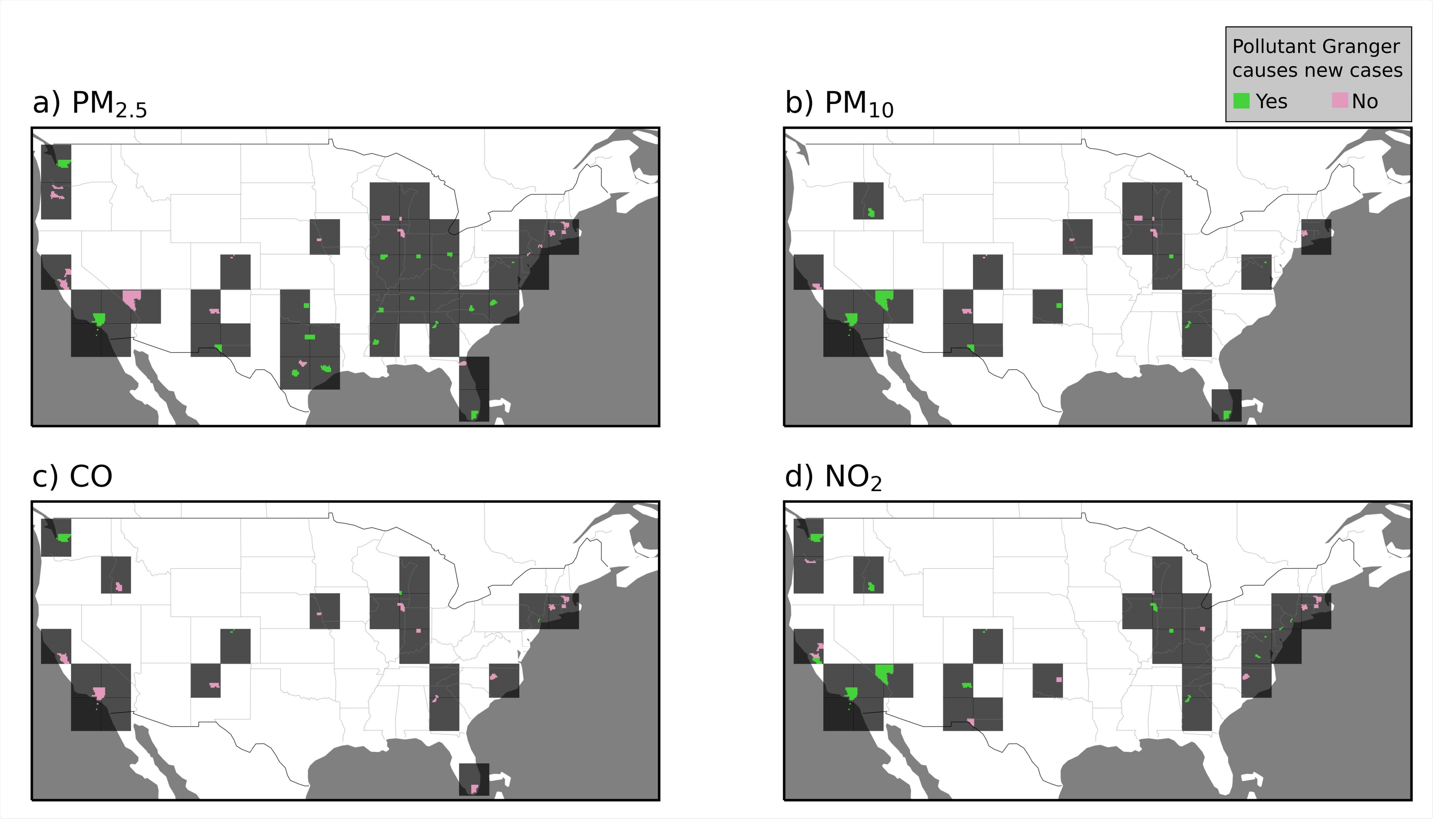 Spatial distribution of the Granger causality test between pollutants concentrations and COVID-19 new cases in USA counties. Counties where the p-values of the Granger F-test are green when below 0.05 and pink when above. Dark gray squares were plotted around colored counties to facilitate their visualization.