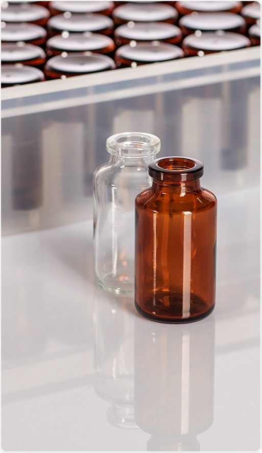 SGD Pharma amber and clear molded glass vials.