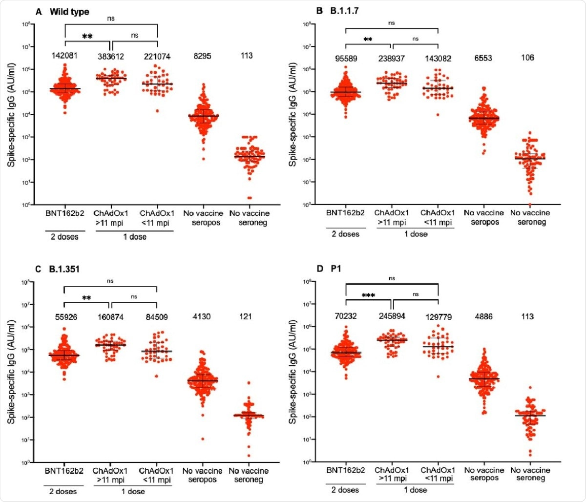 Spike-specific IgG responses against SARS-CoV-2 wild type and variants following two doses BNT162b2 in individuals with or without previous SARS-CoV-2 infection or one dose ChAdOx1 nCoV-19 vaccine in individuals with previous SARS-CoV-2 infection. A) Spike-specific IgG responses against wild type (A), B.1.1.7 (B), B.1.351 (C) and P1 (D). Numbers above each cluster indicate median AU/ml. Lines indicate medians with interquartile ranges. AU; arbitrary units, mpi; months post infection, ns; non-significant, *; p<0.05, **; p<0,01 ***; p<0.001, ****; p<0.0001.