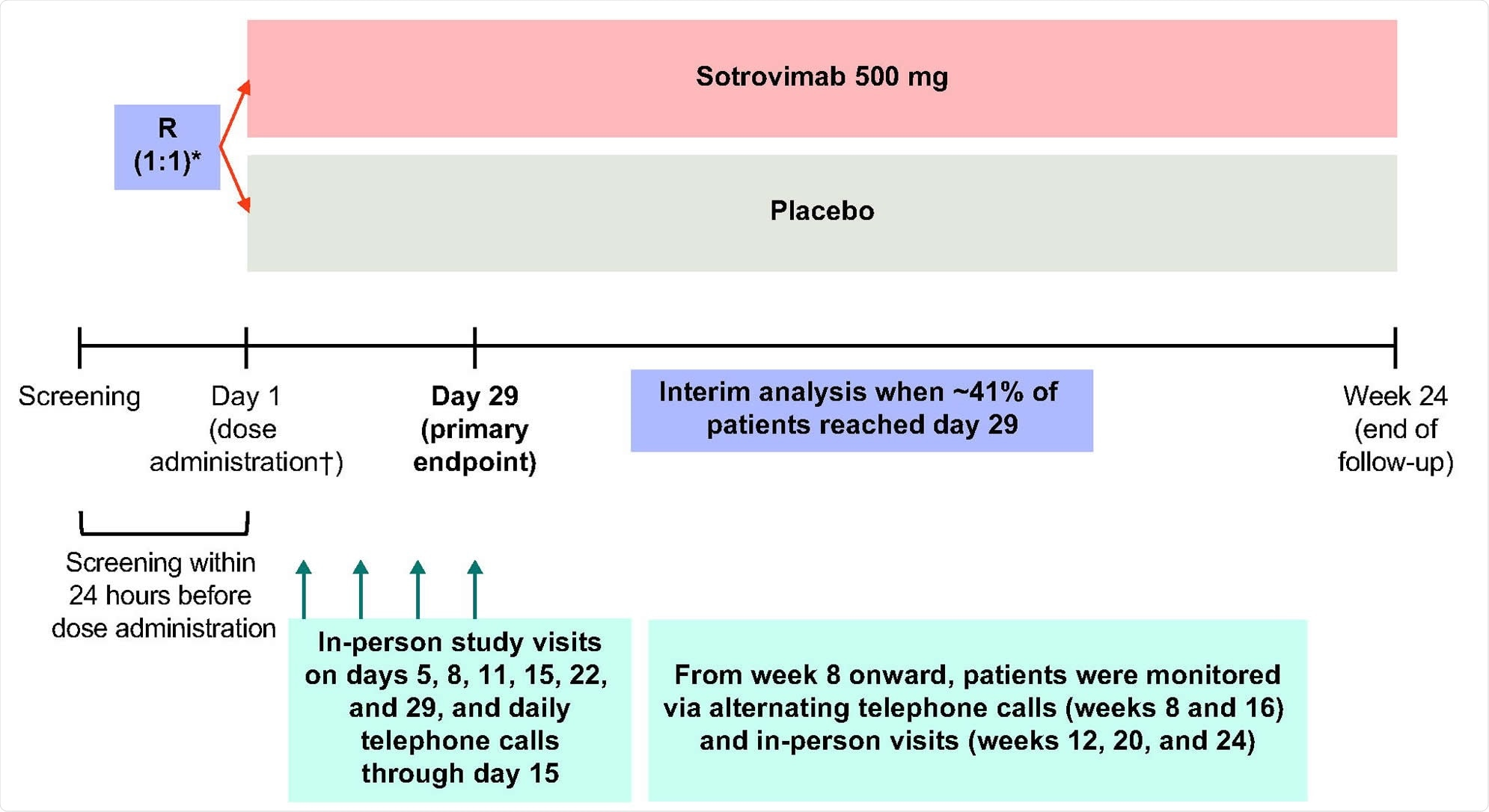 Study design. R denotes randomization. *Patients were stratified by age (≤70 vs. >70 years), symptom duration (≤3 days vs. 4-5 days), and region. †Study pharmacists reconstituted and dispensed all study medications within equal time frames to maintain blinding.