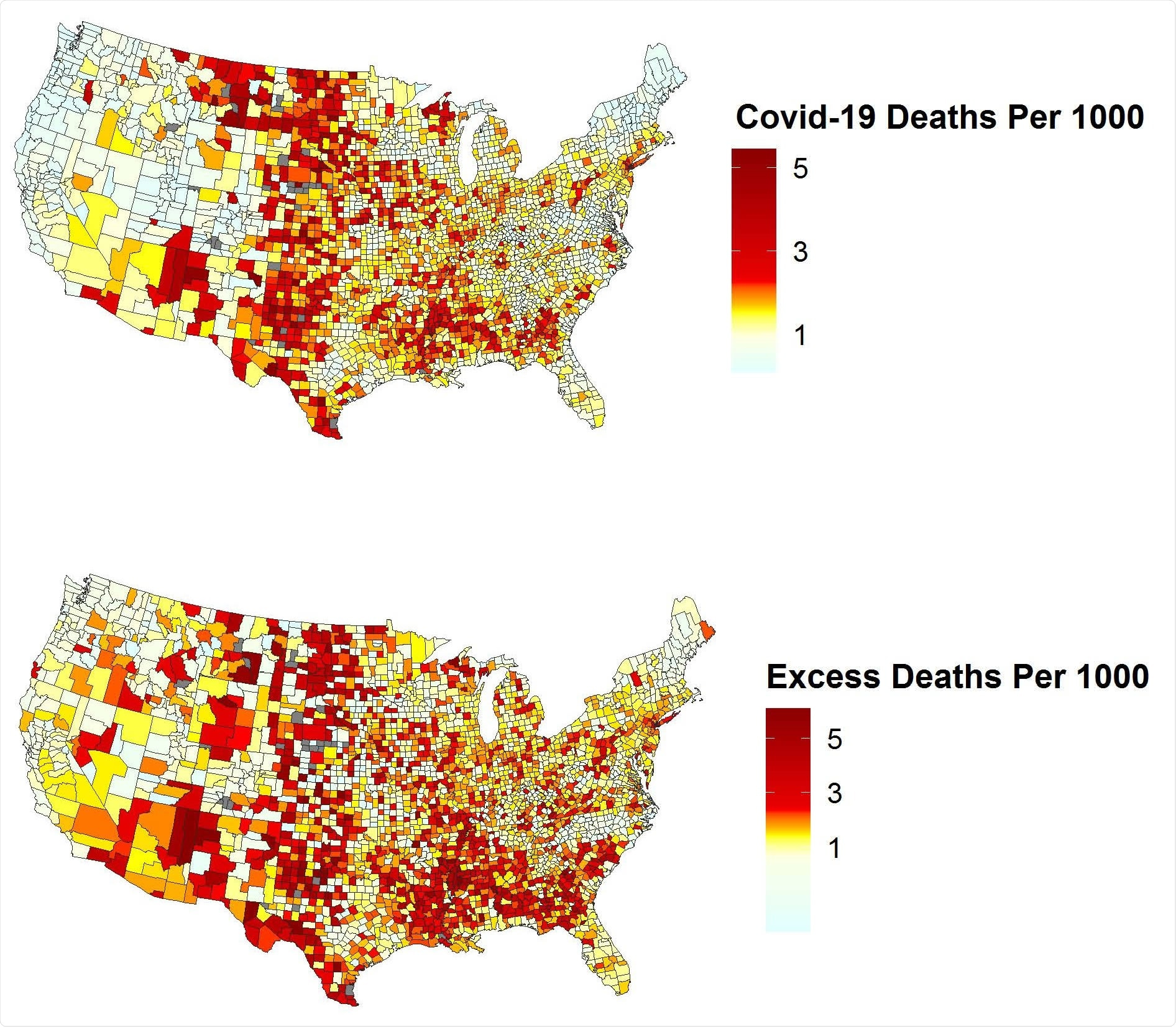 COVID-19 Deaths by County (Per 1000 Person-Years). Heat maps of direct COVID-19 deaths per 1000 person-years by county (top) and excess death rate per 1000 person-years by county (bottom). Numbers are based on provisional data from the National Center for Health Statistics (NCHS) on COVID-19 mortality by county of residence from January 1 to December 31, 2020 reported by April 21, 2021. Note that estimates for counties in North Carolina may be unreliable due to reporting lags.