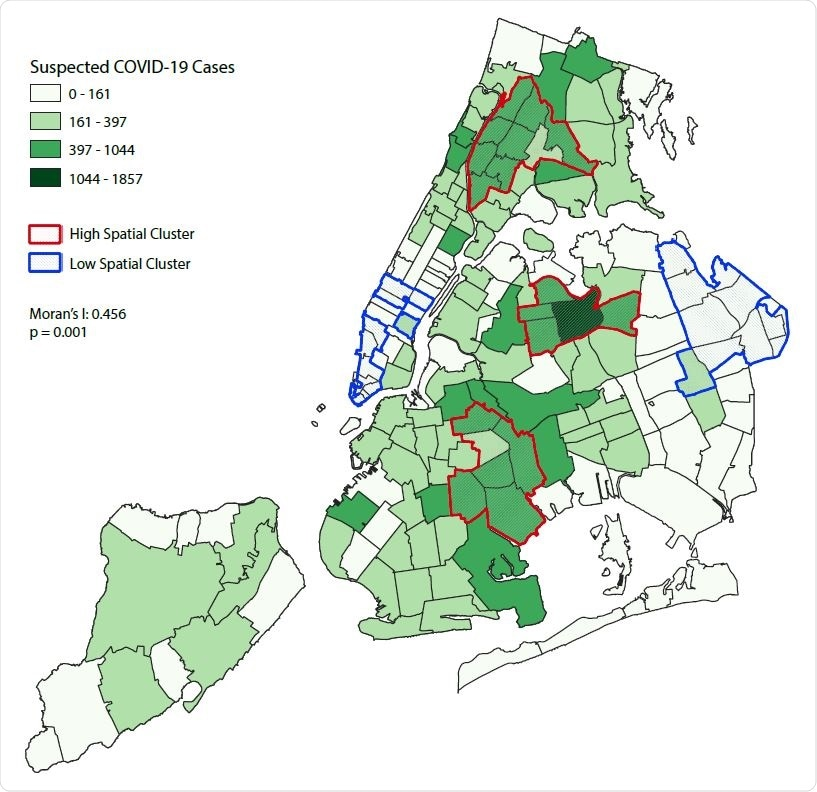 Distribution of New York City ZIP code tabulation area (ZCTA) by a) suspected COVID-19 cases in March 1-30 2020; and b) overcrowded housing and c) multigenerational housing in 2018