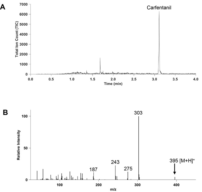 CME-GC/MS analysis of 100 mg/mL solution of carfentanil in methanol. (A) TIC of carfentanil. (B) Positive ion mass spectrum of carfentanil, showing the pseudomolecular ion at m/z 395.