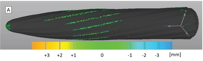 Superimposition and comparison of the bur volumes before and after use reveal important regionally varying differences in the amount of remaining substance (Tungsten carbide in this case). The green traces indicate a mismatch (averaging at about 130 μm in the flutes) with a clear trend for loss, as opposed to yielding or deformation of the flutes.