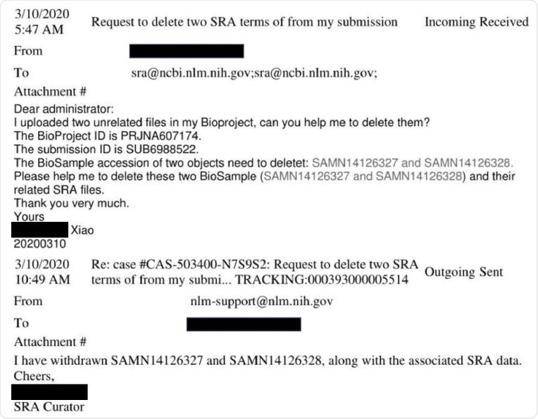 Example of the process to delete SRA data. The image shows e-mails between the lead author of the pangolin coronavirus paper Xiao et al. (2020) and SRA staff excerpted from USRTK (2020).