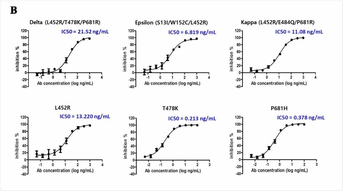 Pruebas de susceptibilidad in vitro para CT-P59 frente a variantes Delta, Epsilon y Kappa.