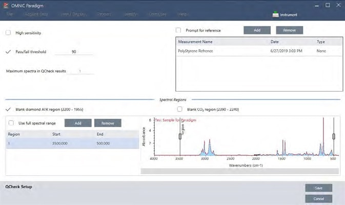 The setup screen for the QCheck analysis.