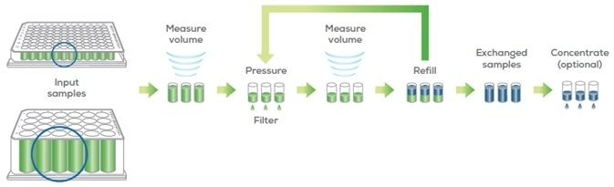 Big Tuna uses a pressure-based UF/DF method with gentle orbital mixing to buffer exchange proteins with the Unfilter 96 and Unfilter 24.