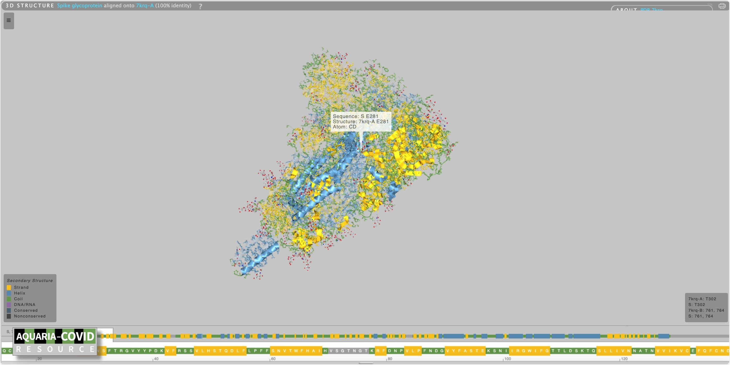 3D spike glycoprotein structure on the Aquaria platform.
