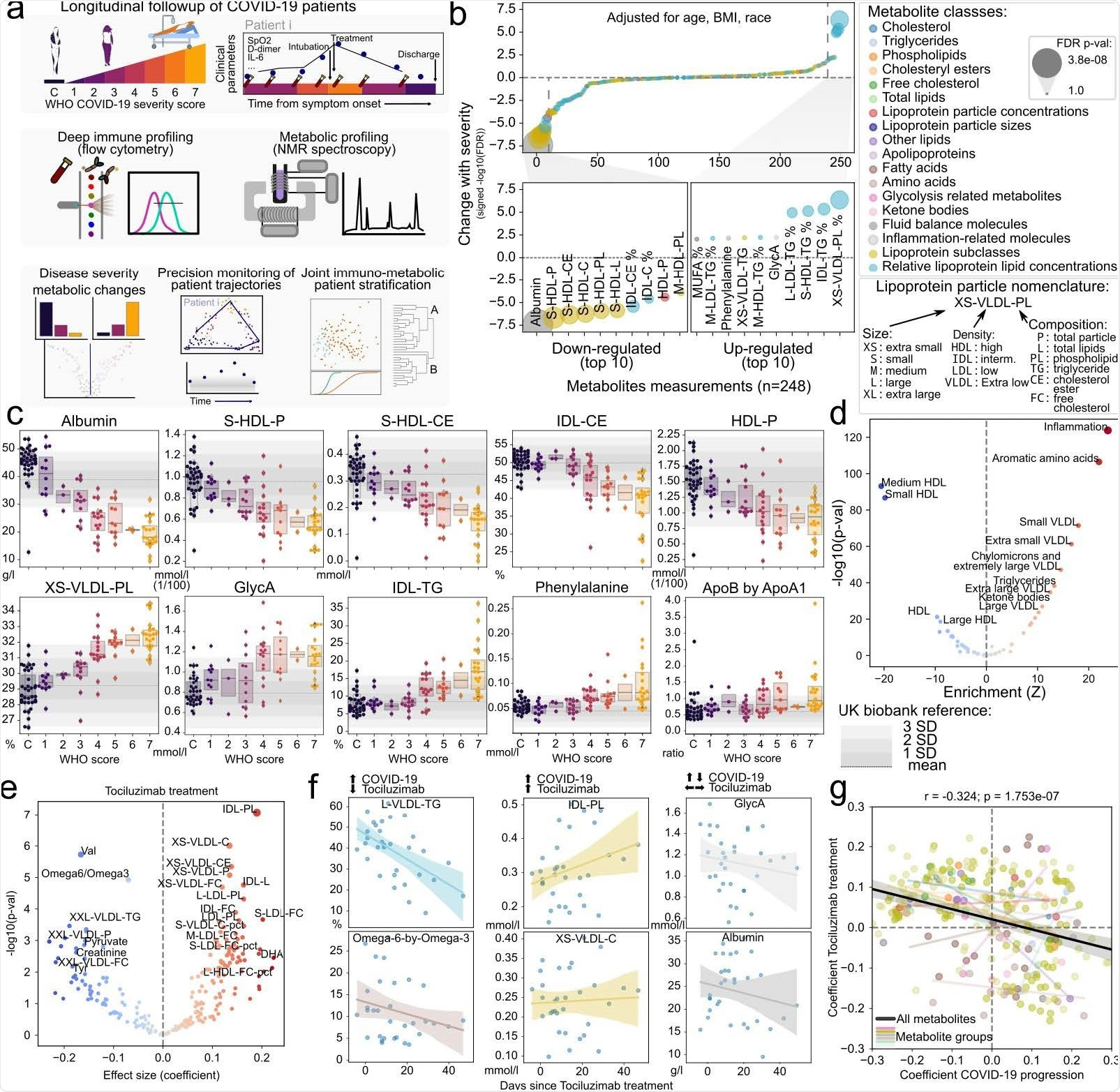 Discovery of metabolic biomarkers of COVID-19 severity and treatment. a) Schematic description of the patients under study, data types collected and approaches for their analysis. b) Association of metabolite abundance with COVID-19 severity for all 248 metabolic species (upper panel). The lower panel illustrates the 10 metabolites most associated with disease severity for each direction. c) Distribution of metabolite abundance for the metabolites most associated with COVID-19 severity depending on the sample WHO score classification. The grey horizontal dashed line represents the mean abundance of the metabolite in over 150,000 individuals from the UK biobank cohort and grey bars represent the standard deviation from the mean. d) Enrichment analysis of metabolites changing with COVID-19 severity in functional terms. e) Association of metabolite abundance with the time since tocilizumab treatment. The coefficient values refer to the change per day in relation to the mean. f) Abundance of metabolites with discordant (left), concordant (center) or indifferent (right) change between COVID-19 severity and tocilizumab treatment for treated patients. g) Comparison of the coefficients of change in COVID-19 severity (x-axis) and effect of tocilizumab treatment over time (y-axis). Each point is a metabolite colored by its class identity as in b). The black regression line indicates the overall trend between all metabolites, while the colored regression lines indicate the trend for each group of metabolites as in panel b).