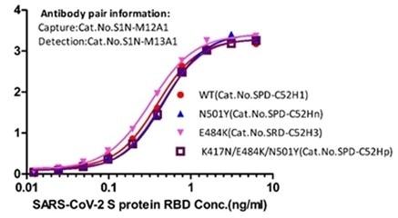 Detection of Spike RBD variants (Cat.No. SPD-C52Hn; SRD-C52H3; SPD-C52Hp) by anti-spike antibody pair (Cat. No. S1N-M12A1, S1N-M13A1) in Sandwich ELISA.