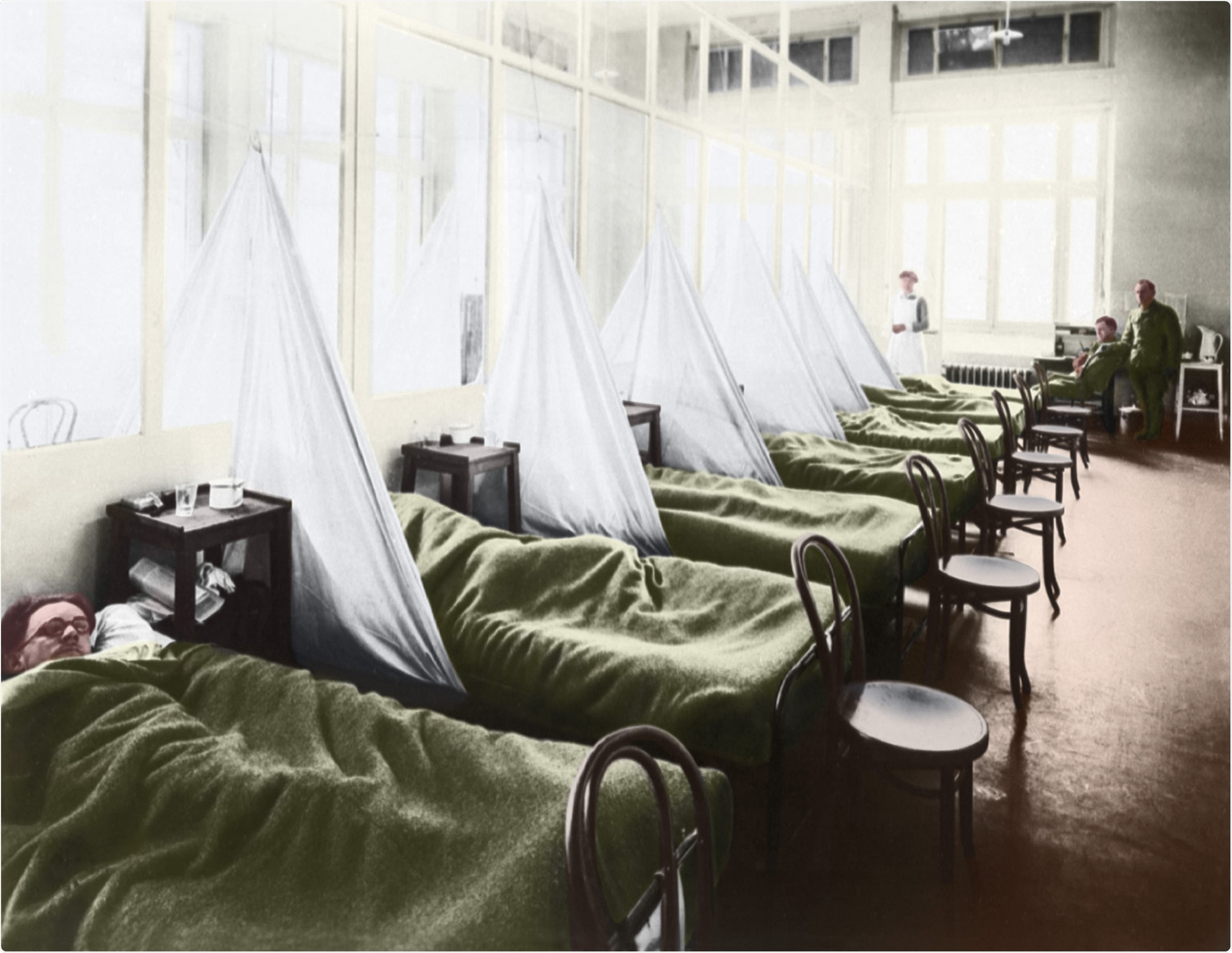 An influenza ward at the U S Army Camp Hospital in Aix-les-Bains France during the Spanish Flu epidemic of 1918-20. Image Credit: Everett Collection