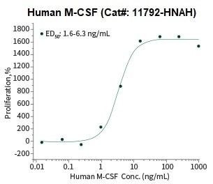 Cell proliferation assay using M‑NFS‑60 mouse myelogenous leukemia lymphoblast cells.