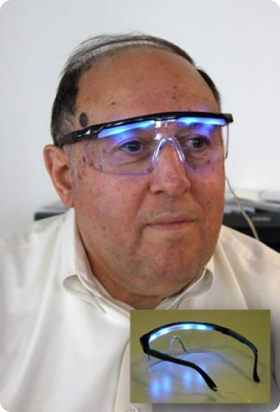 In recent years, scientists at Rensselaer Polytechnic Institute's Lighting Research Center and elsewhere have demonstrated that blue light is the most effective at stimulating the circadian system when combined with the appropriate light intensity, spatial distribution, timing and duration. A team at the Lighting Research Center has tested a goggle-like device designed to deliver blue light directly to the eyes to improve sleep quality in older adults. Credit: Rensselaer/LRC