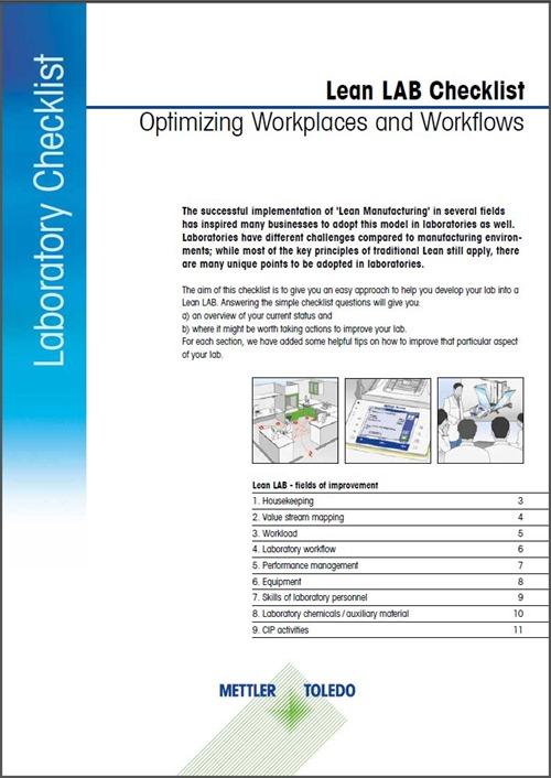 Lista di controllo magra del laboratorio