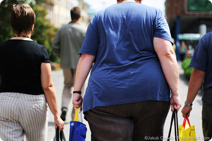 Obese woman shopping