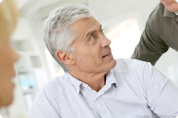 Senior man talking