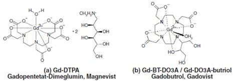 Chemical structures of two gadolinium chelates typically used in MRI, (a) Magnevist with linear and (b) Gadovist with macrocyclic polyaminopolycarboxylic acid ligands.