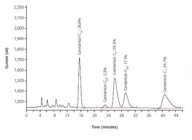 IC determination of the antibiotic gentamicin by pulsed amperometric detection; column: Polymer Laboratories RP-S; eluent: 60g/L Na2SO4, 1.75g/L sodium octane sulfonate, 1.34g/L NaH2PO4, 8mL/L THF (pH = 3, H3PO4); post-column addition: 300mmol/L NaOH