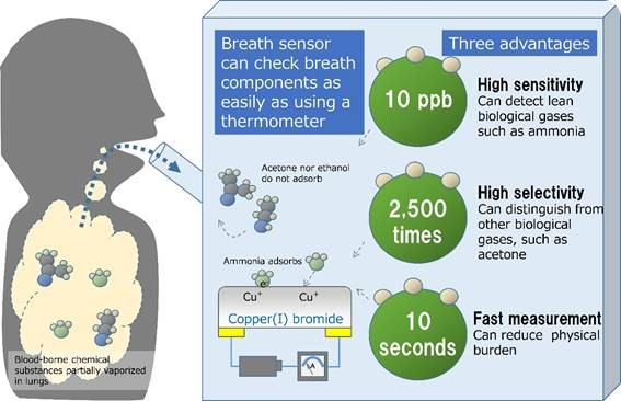 Operation principles and advantages of the newly developed breath sensor
