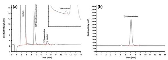 Chromatograms for the radiopharmaceutical [18F] fluorocholine.