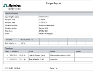 Metrohm's Vision Air Pharma Software Meets Technical Requirements of FDA CFR Part 11 for NIR Spectroscopy